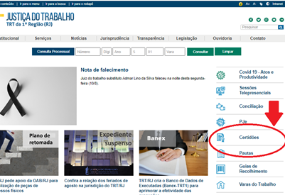 print da página inicial do site